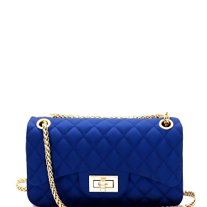 JP067 Quilted Matte Jelly Small 2 Way Shoulder Bag Royal-Blue