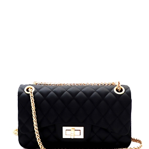 JP067 Quilted Matte Jelly Small 2 Way Turn-Lock Shoulder Bag Black