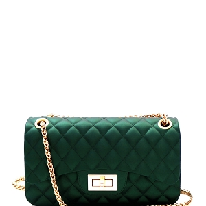 JP067 Quilted Matte Jelly Small 2 Way Turn-Lock Shoulder Bag Olive