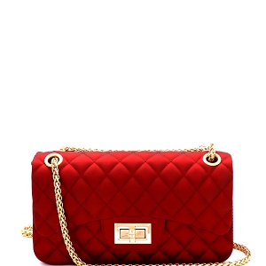 JP067 Quilted Matte Jelly Small 2 Way Turn-Lock Shoulder Bag M.Red