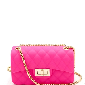 JP067 Quilted Matte Jelly Small 2 Way Turn-Lock Shoulder Bag Neon-Pink