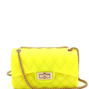 JP067 Quilted Matte Jelly Small 2 Way Turn-Lock Shoulder Bag Neon-Yellow