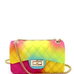 JP067RB Quilted Matte Jelly Small 2 Way Shoulder Bag Rainbow-2