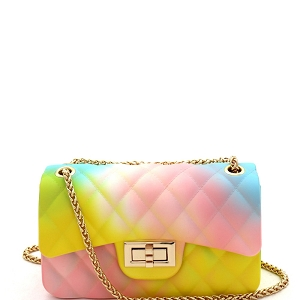 JP067RB Quilted Matte Jelly Small 2 Way Shoulder Bag Rainbow-1
