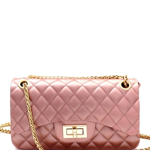 JP068 Quilted Matte Jelly Medium 2-Way Shoulder Bag Pearl-Pink