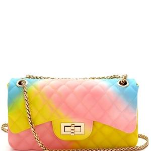 JP068RB Quilted Matte Jelly Medium 2-Way Shoulder Bag Rainbow-1