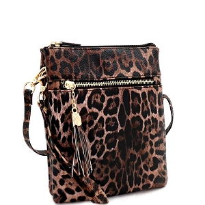 LE022 Tassel Accent Leopard Print 3-Compartment Cross Body Brown