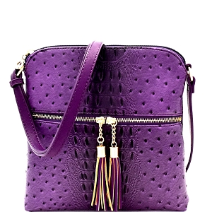 OS062 Ostrich Print Embossed Tassel Zipper Pocket Cross Body Purple