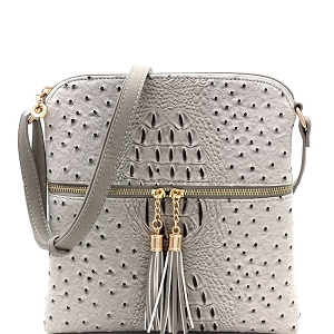 OS062 Ostrich Print Embossed Tassel Zipper Pocket Cross Body Gray