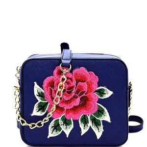 S039 Flower Embroidery Saffiano Boxy Cross Body Navy