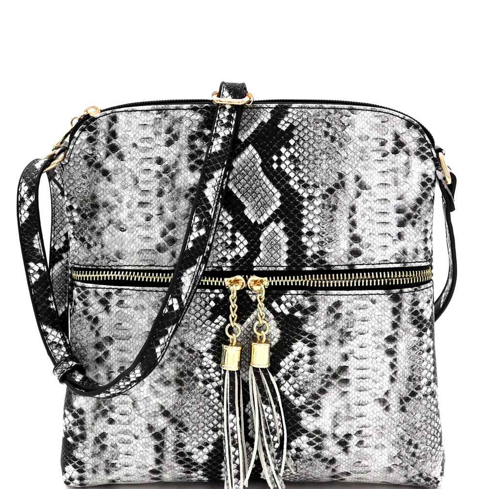 SLM062 Multi-Color Snake Print Tassel Zipper Accent Crossbody Messenger Black-2