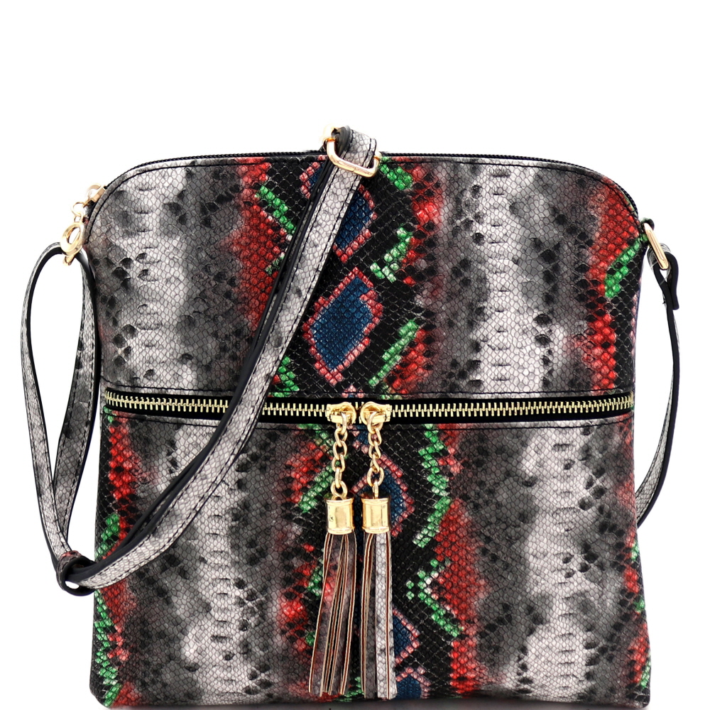 SLM062 Multi-Color Snake Print Tassel Zipper Accent Crossbody Messenger Multi-Black