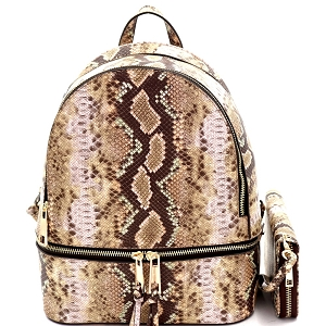 SLM1062W Snake Print Multi Compartment Backpack Wallet SET Taupe