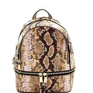 SLM1082 Snake Print Multi Compartment Medium Fashion Backpack Taupe