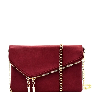 WU023 Fashion 2 Way  Flap Clutch Bag Burgundy