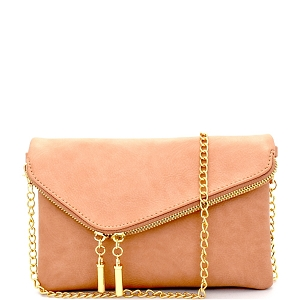 WU023 Fashion 2 Way  Flap Clutch Bag Rose-Pink