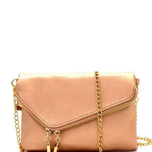 WU023 Fashion 2 Way  Flap Clutch Bag Rose-gold