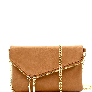 WU023 Fashion 2 Way  Flap Clutch Bag Stone