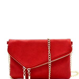 WU023 Fashion 2 Way  Flap Clutch Bag Red