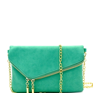 WU023 Fashion 2 Way  Flap Clutch Bag Turquoise