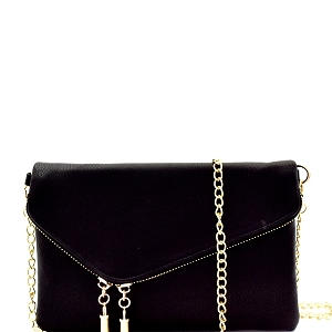 WU023 Fashion 2 Way  Flap Clutch Bag Black