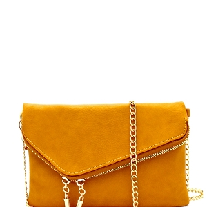 WU023 Fashion 2 Way  Flap Clutch Bag Mustard