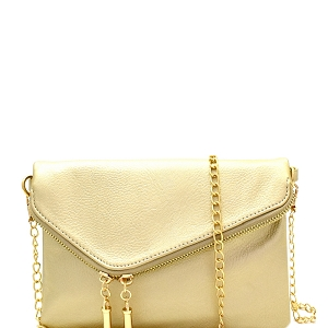WU023 Fashion 2 Way  Flap Clutch Bag Gold