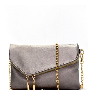 WU023 Fashion 2 Way  Flap Clutch Bag Light-Pewter