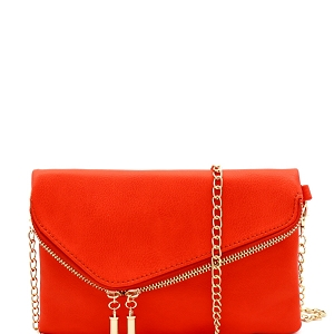 WU023 Fashion 2 Way  Flap Clutch Bag Coral-Rose
