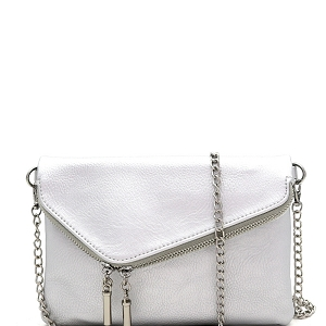 WU023 Fashion 2 Way  Flap Clutch Bag Silver
