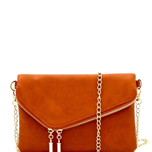 WU023 Fashion 2 Way  Flap Clutch Bag Tan