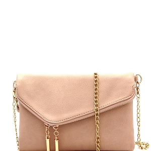 WU023 Fashion 2 Way  Flap Clutch Bag Nude