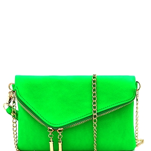 WU023N Fashion 2 Way  Flap Clutch Bag Neon-Green