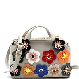 HD2782 Colorful Studded Flower Accent Small Satchel Crossbody Gray