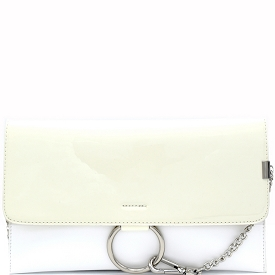 HD2792 Ring and Chain Accent Patent Flap Clutch White