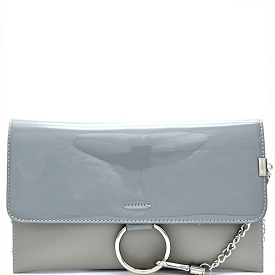 HD2792 Ring and Chain Accent Patent Flap Clutch Gray