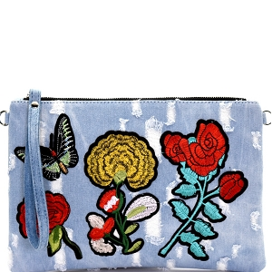 HD2824 Flower Butterfly Embroidery Distressed Denim Clutch Light-Blue