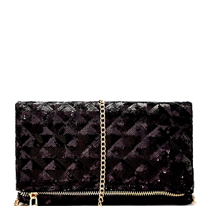 HD2939 Sequin Embellished Fold-Over Clutch Black