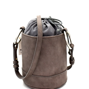HD2996 Ring Handle Drawstring Pouch Bucket Shoulder Bag Gray