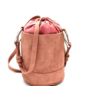 HD2996 Ring Handle Drawstring Pouch Bucket Shoulder Bag Mauve