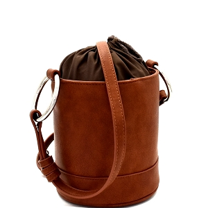 HD2996 Ring Handle Drawstring Pouch Bucket Shoulder Bag Brown