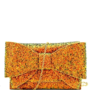 HD3037 Glittered Large Bow Accent Clutch Gold