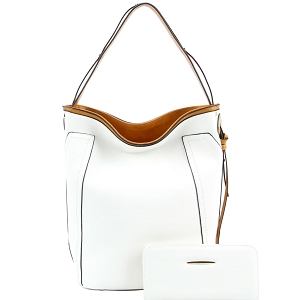 CD008-1 Textured Faux-Leather 2-Tone Hobo Wallet SET White