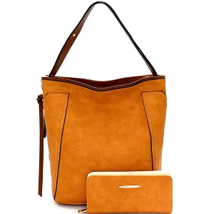 CD008-1 Textured Faux-Leather Two-Tone Hobo Wallet SET Mustard
