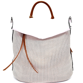 CJF022 Two-Tone Textured Roll-Up Flap Backpack White