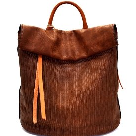 CJF022 Two-Tone Textured Roll-Up Flap Backpack Brown