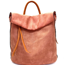 CJF022 Two-Tone Textured Roll-Up Flap Backpack Blush