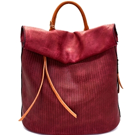 CJF022 Two-Tone Textured Roll-Up Flap Backpack Burgundy