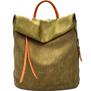 CJF022 Two-Tone Textured Roll-Up Flap Backpack Olive