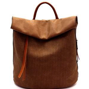 CJF022 Two-Tone Textured Roll-Up Flap Backpack Sand
